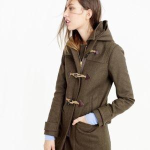 J. Crew Army Green Wool Melton Toggle Coat Size 2